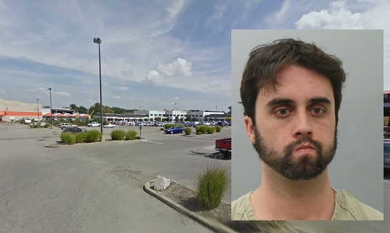 Andrew Dunn, 31, of Garland, Texas, right, and the parking lot where the murder occurred. - MUGSHOT COURTESY ST. LOUIS COUNTY POLICE | GOOGLE MAPS