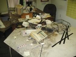 Damage from last week's firebombing.
