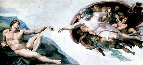 It's been noted that in Michelangelo's rendering of God in the Sistine Chapel, the deity looks like He's resting inside a giant brain. - IMAGE VIA