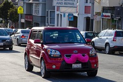 Lyft is famous for its pink 'stache. - LIZASPERLING ON FLICKR