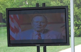 George H. W. Bush congratulates his first cousin George Herbert Walker III after it was announced that the name of Webster University's business school would be changed in his honor. - AMIR KURTOVIC