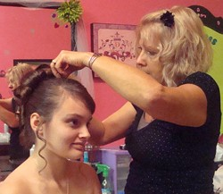 Baillie gets an up-do at the consignment shop. - COURTESY TONYA COOKSON TANNER