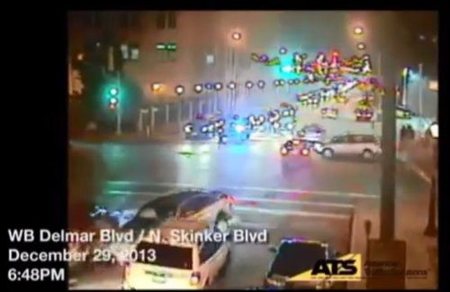 The same cars running the red light, from a western-facing camera.