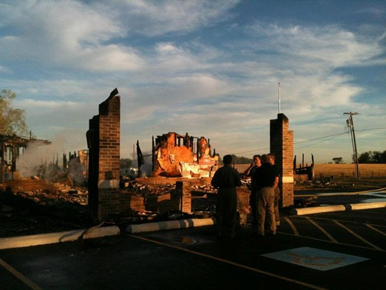 The remains of the Islamic Society of Joplin's mosque after a fire destroyed it in August. - FACEBOOK/ISLAMIC SOCIETY OF JOPLIN