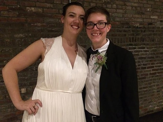 Sadie Pierce and Lilly Leyh were the first couple to officially marry in St. Louis after a judge struck down Missouri's ban on gay marriage. - LINDSAY TOLER