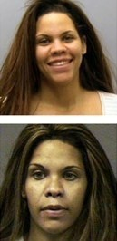 Ms. Taylor, seen here in mug shots from St. Louis (top), and Harris County, Texas