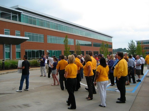 Bensalem, Pennsylvania workers and union supporters outside Express Scripts, Inc. headquarters August 30. - KASE WICKMAN