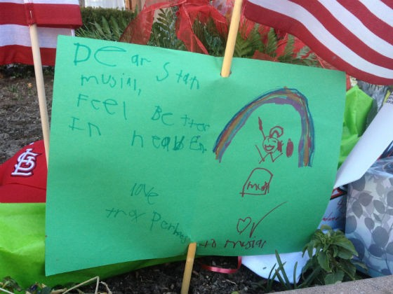 A note left for Stan Musial early Sunday morning. More photos below. - SAM LEVIN