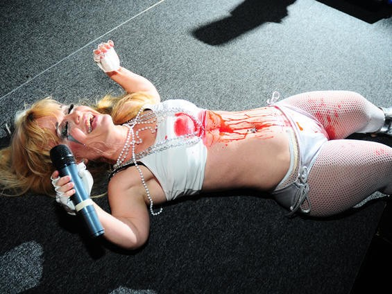Mini Lady Gaga reenacts the real Lady Gaga's Video Music Awards performance. Apologies if this is too early in the morning for fake blood. See more Mini Lady Gaga photos here. - PHOTO: EGAN O'KEEFE