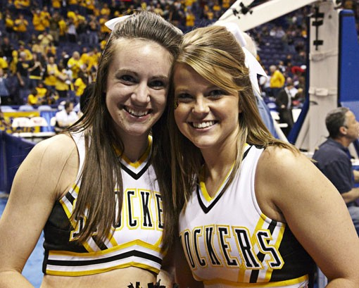 WSU cheerleaders, still hopeful at half-time. - PHOTO: STEVE TRUESDELL