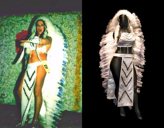 Lee Maynard and a Cher-inspired feathered Indian costume from 1973. - PHOTOS COURTESY OF PHD GALLERY