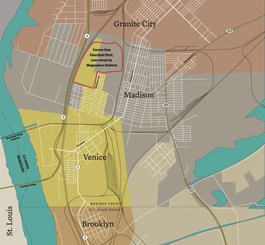 The red circle shows Magnesium Elektron's facility on the border of Venice and Madison in a residential area.
