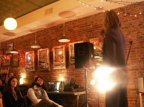 Storytelling at the November 2010 MothUp event in St. Louis. - COURTESY OF MOTHUP ST. LOUIS