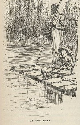 Huck and Jim as they appeared in the first edition of Huckleberry Finn in 1884. - IMAGE VIA