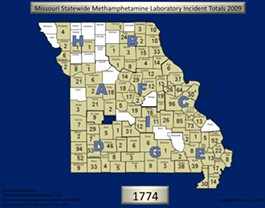 Missouri busted 1,776 meth labs last year and we're on pace for more than 1,800 in 2010. - COURTESY OF THE MISSOURI STATE HIGHWAY PATROL