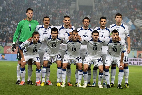 Ibisevic is third from the left in the top row of this picture of the Bosnian team. - ULICAR STREETS ON FLICKR