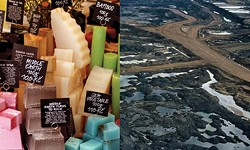 Left, soaps sold by Lush Cosmetics. Right, the Canadian tar sands. Only if a good scrubbing by one would clean the other. - ARTIST'S BUTCHERING