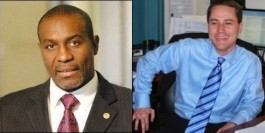 Board President Lewis Reed (left) and former campaign manager Matt Teter