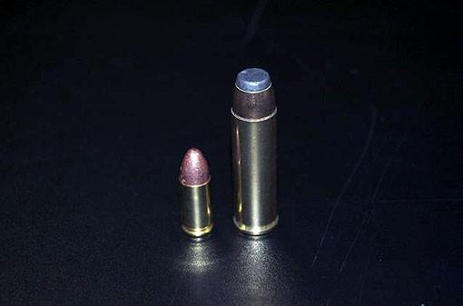 A 9mm round next to the .500 magnum. - PHOTO: MATT BLICKENSTAFF