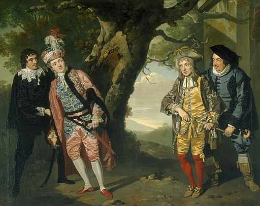 Take it away, Wikipedia: Fabian (far left) encourages Viola/Cesario (second left) to fight Sir Andrew Aguecheek (second right), encouraged by Sir Toby Belch (far right), because Viola is accused of wooing Olivia, whereas Andrew wishes to woo her instead. - PAINTING BY FRANCIS WHEATLEY (1771-2) | WIKIMEDIA COMMONS