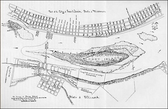 A 19th century surveyer's map of Bloody Island. - IMAGE VIA