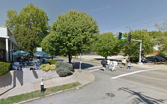 Pedestrians cross where a woman was struck and killed by two cars in front of Olympia Kebob House and Taverna. - GOOGLE MAPS