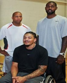Kenny Lee (center) is one of the beneficiaries of tomorrow's Man-to-Man basketball fundraiser at Harris-Stowe State University.