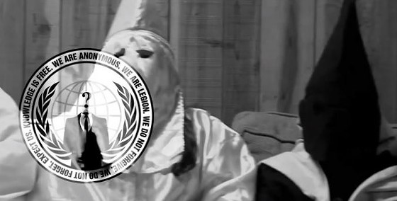 A screenshot of the video announcing Anonymous #OppKKK campaign. - YOUTUBE