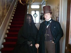 """Proper Victorian ladies couldn't show their faces in public for the first year of their mourning. For the second year, they could wear shiny black fabric. For the third and final year, says Dieterle, """"they could bust out the lavender and grey."""" - COURTESY THE CHATILLON-DEMENIL MANSION"""