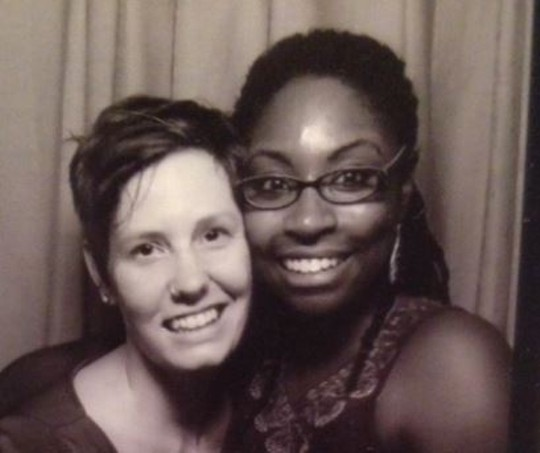Another plaintiff couple, Beth Drouant and Julikka LaChe.