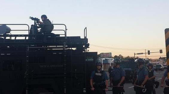 Police guarding Ferguson on August 13, at the start of the protests. - DANNY WICENTOWSKI