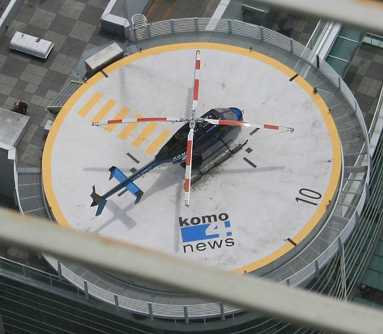 The KOMO-TV news helicopter on its landing pad. -  JEPOIRRIER ON FLICKR