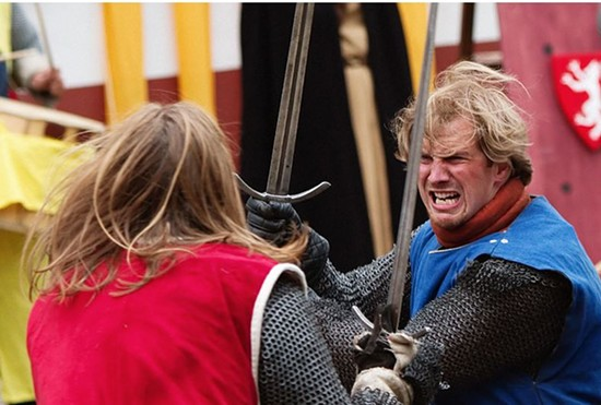 "No swords were involved in the actual fight. This is just a ""dramatic"" reenactment...get it? - WIKIMEDIA/SANDER VAN DER WEL"