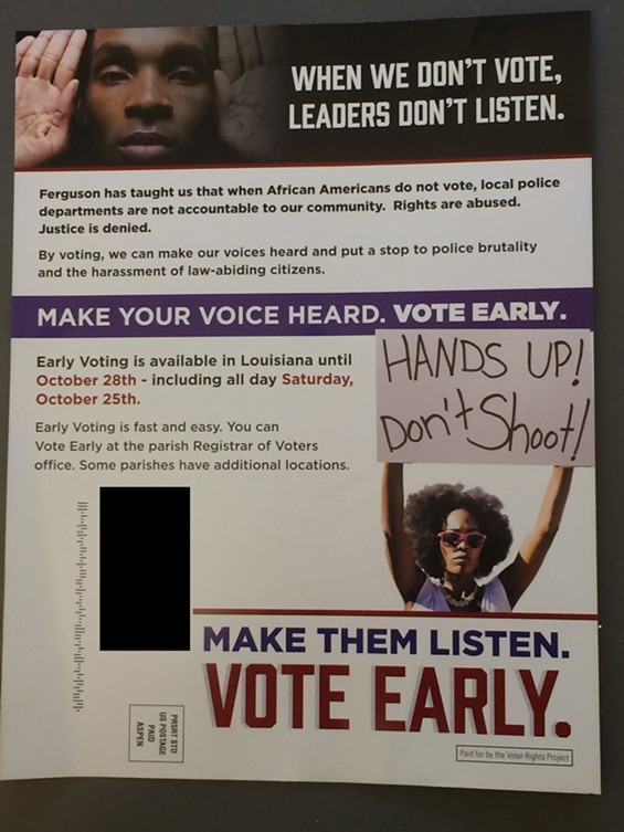 A flier sent to voters in Louisiana. - VIA