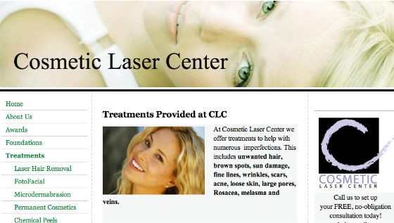 Website screenshot - VIA COSMETICLASERCENTER.ORG