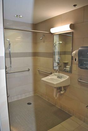 "A new and improved ""lean"" bathroom at Barnes Jewish Hospital. - COURTESY BARNES JEWISH HOSPITAL"
