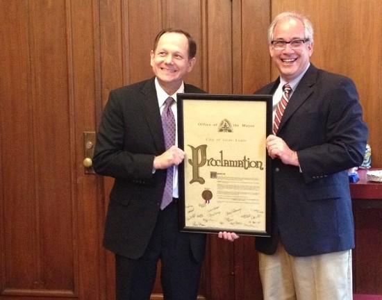 Mayor Francis Slay with Eddie Roth. - COURTESY OF MAGGIE CRANE
