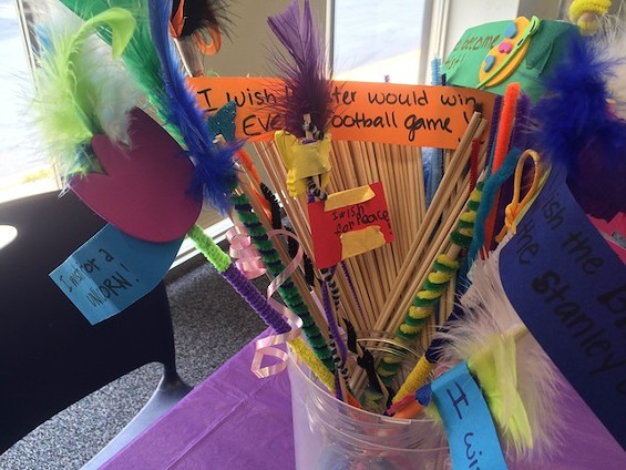 Wish wands made by Ferguson-Florissant students at the Flo-Valley Library last Thursday - PHOTO BY MITCH RYALS
