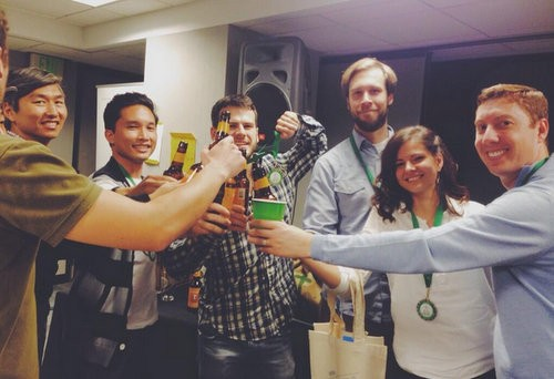 The Invisible Girlfriend team celebrates their win. - MEGAN WEAVER