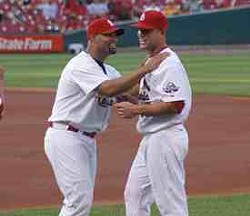 See, even Pujols is happy with Holliday. - COMMONS.WIKIMEDIA.ORG