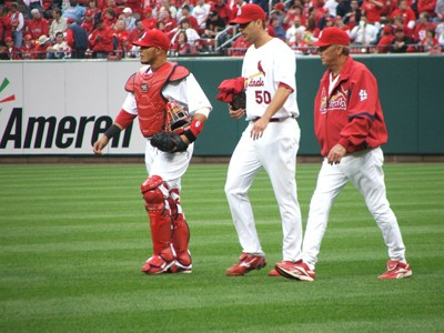 The Cardinals (pictured from left, catcher Yadier Molina, pitcher Adam Wainwright and pitching coach Dave Duncan) have amassed a 30-21 record since Opening Day. Despite the good play so far, this is still a team in transition.