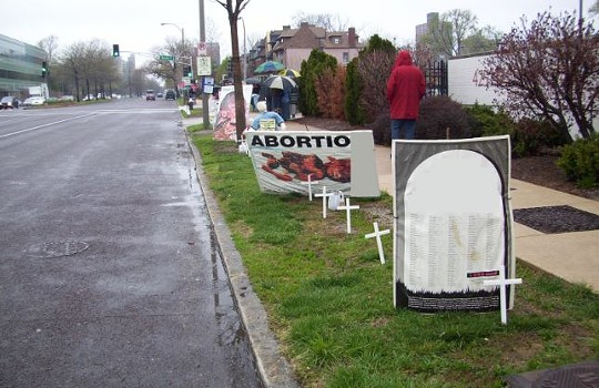 Anti-abortion protesters use disturbing prop pieces in their attempts to dissuade women from getting abortions. - PLANNED PARENTHOOD