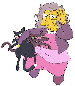 Crazy Cat Lady as depicted on The Simpsons