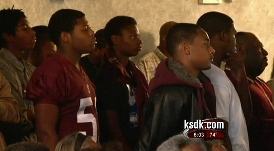 McNeil's teammates at his funeral. - VIA KSDK