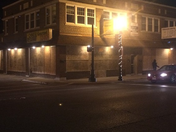 No damage to the boarded-up Chinese Gourmet restaurant or surrounding businesses Tuesday night. - MITCH RYALS