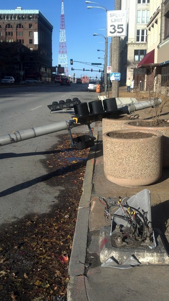 Winds downed a traffic light at Tucker and Locust in downtown St. Louis. - ALLISON BABKA