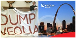 Members of Dump Veolia and a graphic from Veolia's St. Louis outreach.