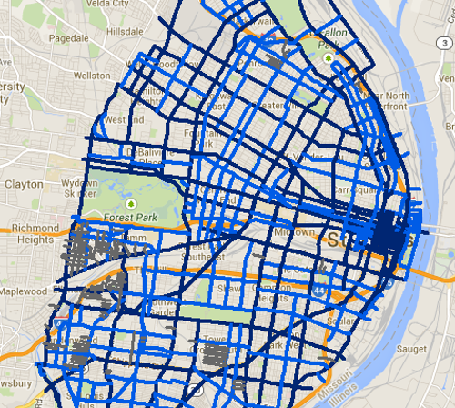 Snow routes for the city of St. Louis. - ST. LOUIS CITY