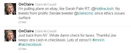 Dragging the senator's wealthy husband into it? Ouch!