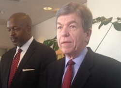 Roy Blunt speaking to reporters last week. - SAM LEVIN